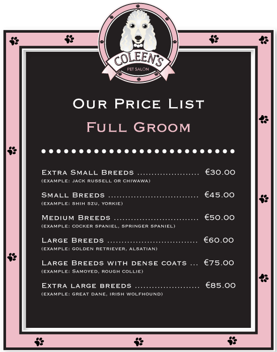 Dog Grooming Kildare Prices
